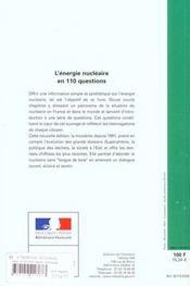 L'energie nucleaire en 110 questions - 4ème de couverture - Format classique