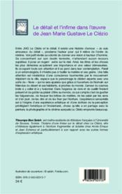 Détail et l'infime dans l'oeuvre de Jean Marie Gustave le Clézio - 4ème de couverture - Format classique