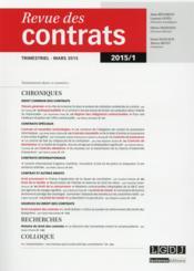 REVUE DES CONTRATS ; 2015 t.1 - Couverture - Format classique