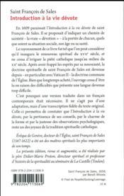 Saint François de Sales ; introduction à la vie dévote - 4ème de couverture - Format classique