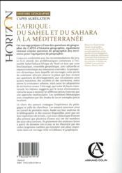 L'Afrique ; du Sahel et du Sahara à la Méditerranée ; capes/agrégation histoire-géographie - 4ème de couverture - Format classique