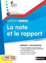 Concours ; la note et le rapport (édition 2019/2020) - Couverture - Format classique