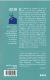 Jean Zay : la République au Panthéon - 4ème de couverture - Format classique
