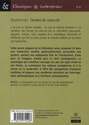 Carnets du sous-sol - 4ème de couverture - Format classique