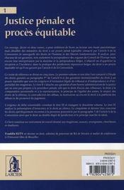 Justice pénale et procès équitable t.1 - 4ème de couverture - Format classique