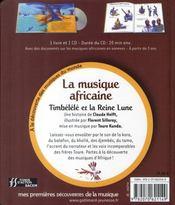 Timbélélé et la Reine Lune ; la musique africaine - 4ème de couverture - Format classique