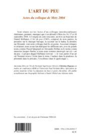L'art du peu ; actes du colloque de Metz 2004 - 4ème de couverture - Format classique
