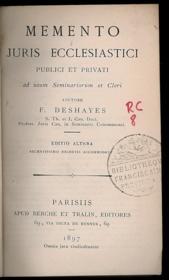 MEMENTO JURIS ECCLESIASTICI PUBLICI ET PRIVATI ad usum Seminariorum et Cleri,éd. altera recentissimis decretis accommodata - Couverture - Format classique