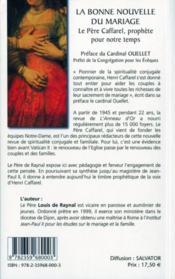 La bonne nouvelle du mariage ; le père Caffarel, prophète pour notre temps - 4ème de couverture - Format classique