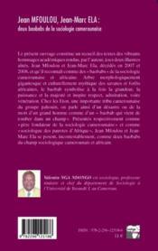Jean Mfoulou, Jean-Marc Ela : deux baobabs de la sociologie camerounaise - 4ème de couverture - Format classique