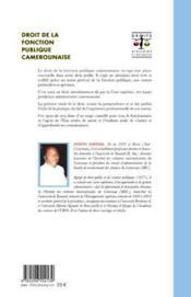 Droit de la fonction publique camerounaise - 4ème de couverture - Format classique