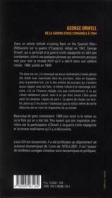 George Orwell ; de la guerre civile espagnole à 1984 - 4ème de couverture - Format classique