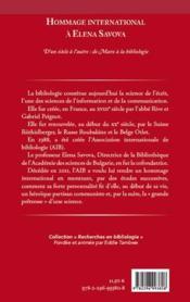 Hommage international à Elena Savova ; d'un siècle à l'autre : de Marx à la bibliologie - 4ème de couverture - Format classique