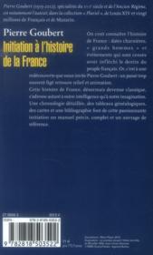 Initiation à l'histoire de la France - 4ème de couverture - Format classique