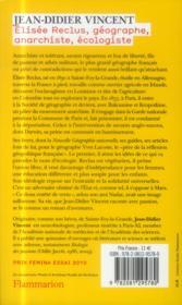 Elisée Reclus: géographe, anarchiste, écologiste - 4ème de couverture - Format classique