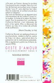 Geste D'Amour - 4ème de couverture - Format classique