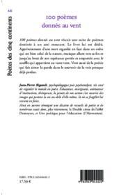 100 poèmes donnés au vent ; suite de poèmes - 4ème de couverture - Format classique