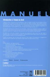 Introduction a l etude du droit - 4ème de couverture - Format classique