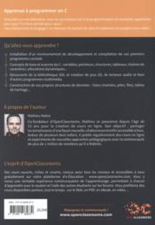 Apprenez à programmer en C (2e édition) - 4ème de couverture - Format classique