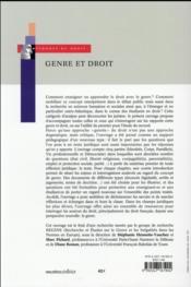 Genre et droit ; ressources pédagogiques - 4ème de couverture - Format classique