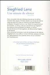 Une minute de silence - 4ème de couverture - Format classique