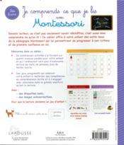 Je comprends ce que je lis avec Montessori - 4ème de couverture - Format classique