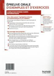 Je prépare ; épreuve orale d'exemples et d'exercices ; agrégation interne/CAERPA mathématiques - 4ème de couverture - Format classique