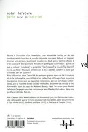 Parle ; tais-toi - 4ème de couverture - Format classique