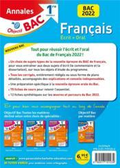Objectif bac ; français écrit + oral ; 1re générale ; annales (édition 2022) - 4ème de couverture - Format classique