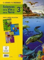 Sciences et vie de la terre ; 3ème ; manuel (édition 2008) - 4ème de couverture - Format classique