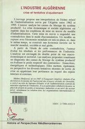 L'Industrie Algerienne ; Crise Et Tentative D'Ajustement - 4ème de couverture - Format classique