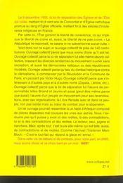 1905 ! la loi de separation des eglises et de l'etat - 4ème de couverture - Format classique
