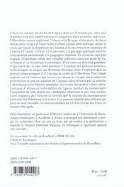 Entre vosges et foret-noire pouvoirs, terroirs et villes de l'oberrhein, 1250-1350 - 4ème de couverture - Format classique