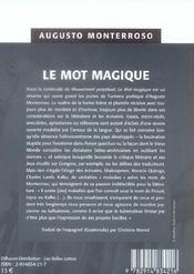 Le mot magique - 4ème de couverture - Format classique
