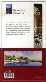 Maroc ; riads et villas d'exception (edition 2007-2008) - 4ème de couverture - Format classique