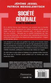 Société générale, secrets bancaires - 4ème de couverture - Format classique