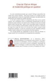 Crise de l'Etat en Afrique et modernité politique en question - Couverture - Format classique