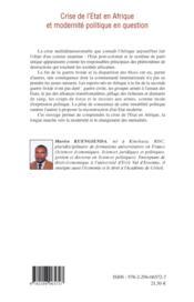 Crise de l'Etat en Afrique et modernité politique en question - 4ème de couverture - Format classique