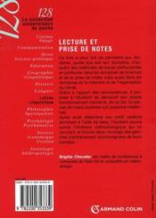 Lecture et prise de notes (2e édition) - 4ème de couverture - Format classique