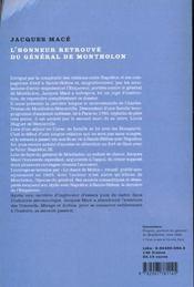 L'honneur retrouve du general de montholon - 4ème de couverture - Format classique