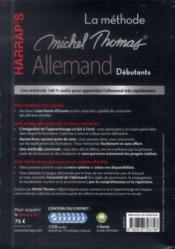 La méthode Michel Thomas ; allemand débutant - 4ème de couverture - Format classique
