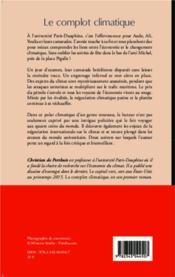 Complot climatique - 4ème de couverture - Format classique