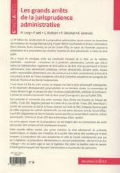Les grands arrêts de la jurisprudence administrative (20e édition) - 4ème de couverture - Format classique