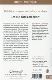 Les 100 dates du droit (2e édition) (2e édition) - 4ème de couverture - Format classique