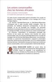 Les unions consensuelles chez les femmes africaines ; entre coutumes matrimoniales et modernite (exemple du Cameroun) - 4ème de couverture - Format classique