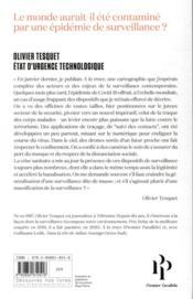 État d'urgence technologique ; comment l'économie de la surveillance a tiré parti de la pandémie - 4ème de couverture - Format classique