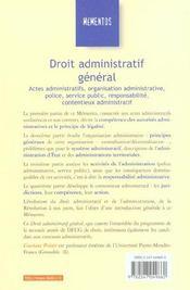 Droit Administratif General ; 21e Edition - 4ème de couverture - Format classique