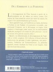 De L'Embryon A La Personne No41 - 4ème de couverture - Format classique