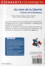 Au nom de la liberté ; poèmes de la résistance - 4ème de couverture - Format classique