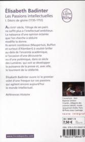Les passions intellectuelles t.1 ; désir de gloire (1735-1751) - 4ème de couverture - Format classique